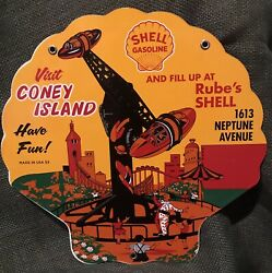 """1953 Vintage Style Shell""""rube's Shell""""service Station In Coney Island 12 Inch"""