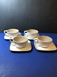 4 Sets Vintage Glidden Pottery Mcm Cups 141 And Saucers 142 Feather Pattern