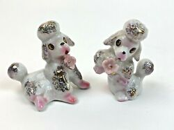 Vintage Poodles Dogs Puppies Flowers Pink Japan Salt And Pepper Shakers  Fw34