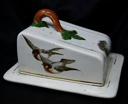 Antique Vintage Edwardian Bird Sparrow Cheese Keep Dome Dish Box Butter Serving