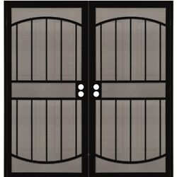 Brand New 72x80 Metal Double Security Door And Frame W/ Screen Almond Color