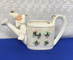 Vtg.lefton Winking Pixie.angel.on Watering Can.ceramic Iridescent Planter.sweet