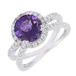 Amethyst And Natural Diamond Criss-cross Engagement Ring 14k White Gold