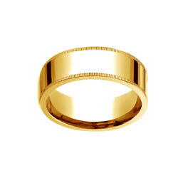 18k Yellow Gold 8mm Flat Comfort-fit Wedding Band Ring With Milgrain Size 11