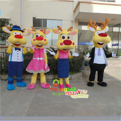 Halloween Cartoon Deer Mascot Costume Suit Cosplay Party Dress Outfit Adult Xmas