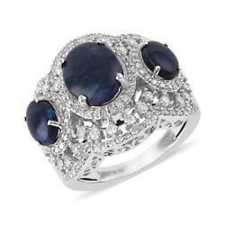 14k White Gold Black Opal Bridal Anniversary Ring Jewelry Gift For Her Ct 5.3
