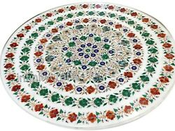 54 Marble Dinette Table Top Inlay Malachite Stone Office Table For Office Decor