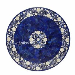 30 Marble Coffee Table Top Lapis Lazuli Stones Inlaid Sofa Table For Home Decor