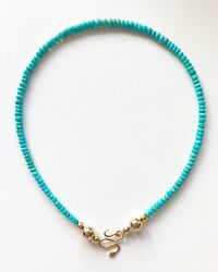 Ouroboros Jewelry Andbull 14k Gold W/ Sleeping Beauty Turquoise Snake Charmer Necklace