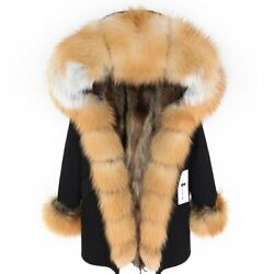Real Fox Fur Collar Wild Women Park Lining Jacket Womenand039s Coat Clothes