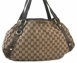 Authentic GUCCI Abbey Shoulder Tote Bag Canvas Leather Brown C4017 $152.00