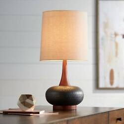 Mid Century Modern Table Lamp Hammered Bronze Wood For Living Room Bedroom