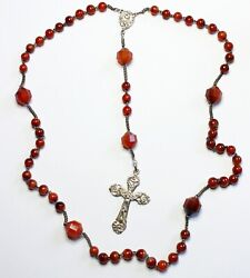 100+ Years Art Nouveau Agate And Sterling Silver Catholic French Rosary Unused