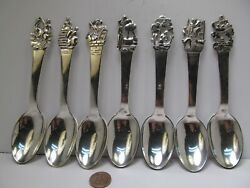 Antique Danish 830 Silver Story Spoons Solid Silver Vintage