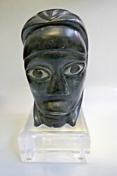 1987 Inuit Soap Stone Carving Listed Artist Abraham Pov - Man Wearing Bear Mask