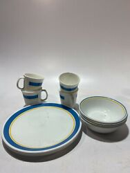 Set Of 12 Corning Ware Dishes White/blue/yellow Mand039wave Ok Cups/plates/bowls