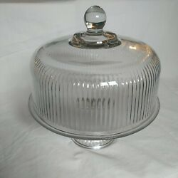 Vintage Clear Glass 12 Cake Plate With Heavy Dome Cover On Pedestal Base Anchor