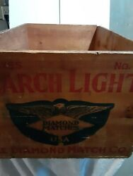 Vintage Wooden Shipping Crate Diamond Matches Wood Match Box 24x16x12 Inches.