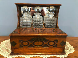 Antique Victorian Oak Tantalus W/ Spring Loaded Drawer And Cut Glass Decanters