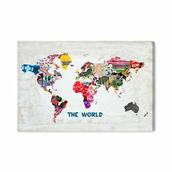 The Oliver Gal Artist Co. Maps And Flags Wall Art Canvas Prints And039hipster Mapa...