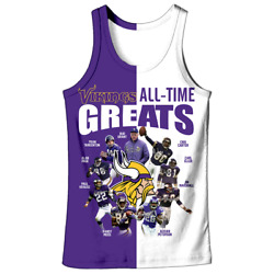 Minnesota Vikings All Time Greats New Full All Over Print Tank Top Size S-5xl