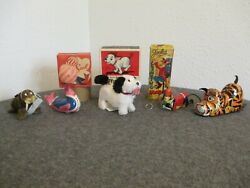 Vtg Lot5 Marx Alps And Occupied Japan Tin Wind-up Toys Work Monkey Seal Tiger