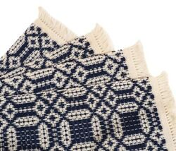 Placemats Colonial Willamsburg Handmade Woven Rustic Blue White 20 X 14 Set Of 4