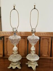 Pair Vintage Crystal And Metal Table Buffet Lamps Victorian Hollywood Regency