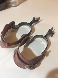 Antique Cowboy Spurs Unmarked Silver Overlay 1 Side. Iron Metal. Leather Straps