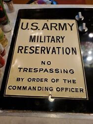 Vintage U.s. Army Military Reservation No Trespassing Sign 1963