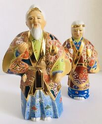 Pair Of Hand Painted Porcelain Japanese Elders Figurines In Traditional Robes