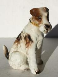 Wirehair Fox Terrier Dog Figurine w Metal ID Tag Ceramic Porcelain Hand Painted