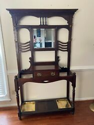 Antique Victorian Mahogany Hall Tree Stand From England Circa 1860 W/ Papers