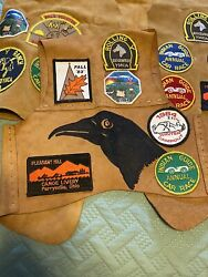 Father Son Indian Guides Suede Leather Vest Patches Crow Ymca Camp 1970's
