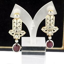 Antique Diamond And Oval Ruby 18k Gold And Platinum Ladies Earrings Ca. 1900
