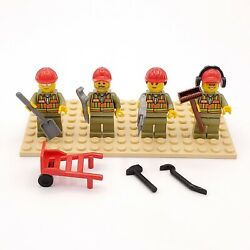 Lego Minifigs Railroad Work Crew Train Workers Olive Uniform Set Of 4 Tools Cw15