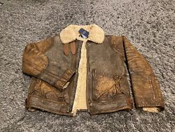 Polo Ralph Brown Vintage Distressed Leather Shearling Bomber Coat Jacket M Rare