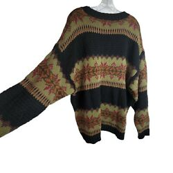 Vintage Fair Isle Sweater County Seat Xl Black Green Red Nordic Design