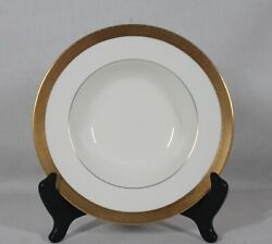 Discontinued Royal Worcester Durham Pattern Rimmed Soup Bowl 8 Gold Mark Used