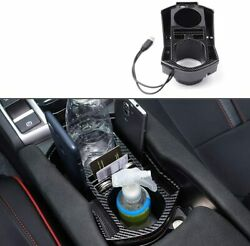 For Honda Civic 2016-2021 Carbon Fiber Central Console Storage Box Cup Holder