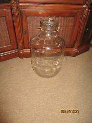 Vintage Large 18 Country Store Glass Candy Jar With Lid And Bale Wood Handle
