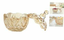 Royal Embossed Crystal Lead Free Glass Candy Jar With Lid Jewelry 10 Oz Amber