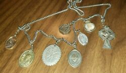 8 Antique Vintage Religious Medals Relics On A Chain Detail In The Photos