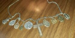 10 Antique Vintage Religious Medals Relics On A Chain Detail In The Photos