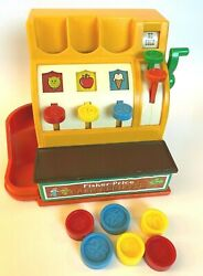 Vintage 1974 Fisher Price Cash Register With 6 Coins