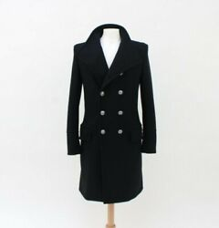 Balmain Mens Black Double Breasted Dress Wool Cashmere Coat Size 44/xs