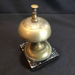 Antique Hotel Service Front Desk Counter Top Bell W/ Mother Of Pearl Iron, Brass