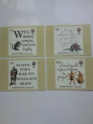 4 1st Day Cover Cards 1996 Phq176 Bicentenary Of Death Of Robert Burnsred Rose