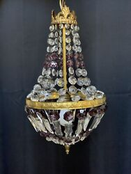 Antique French Empire Amethyst Crystal Brass Beaded Basket Chandelier Victorian