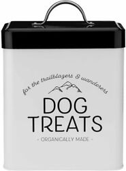 Amici Pet Scout Dog Metal Food Storage Canister 96 Oz Black Airtight Lid